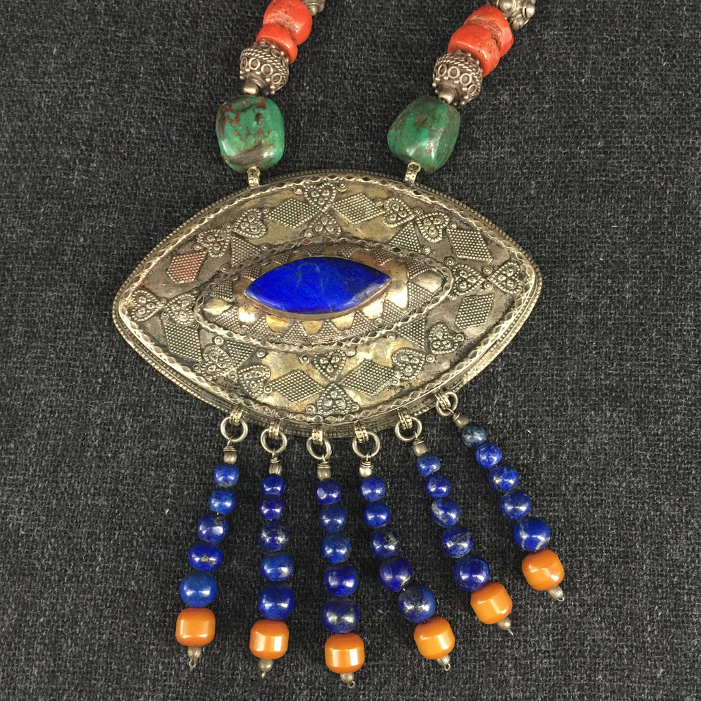 Antique Tibetan Handmade Lapis, Coral, Turquoise and Silver Necklace at Mahakala Fine Arts