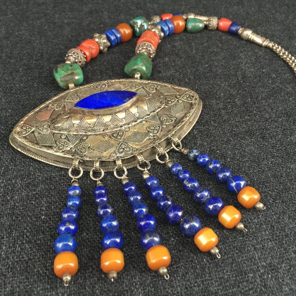 Antique Turkoman Handmade Lapis, Coral, Turquoise and Silver Necklace Jewelry at Mahakala Fine Arts