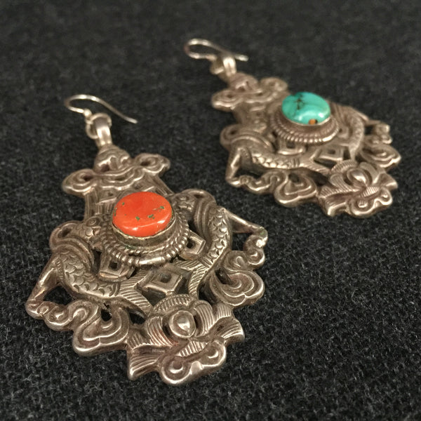 Old Handmade Tibetan Silver Earrings Jewelry at Mahakala Fine Arts
