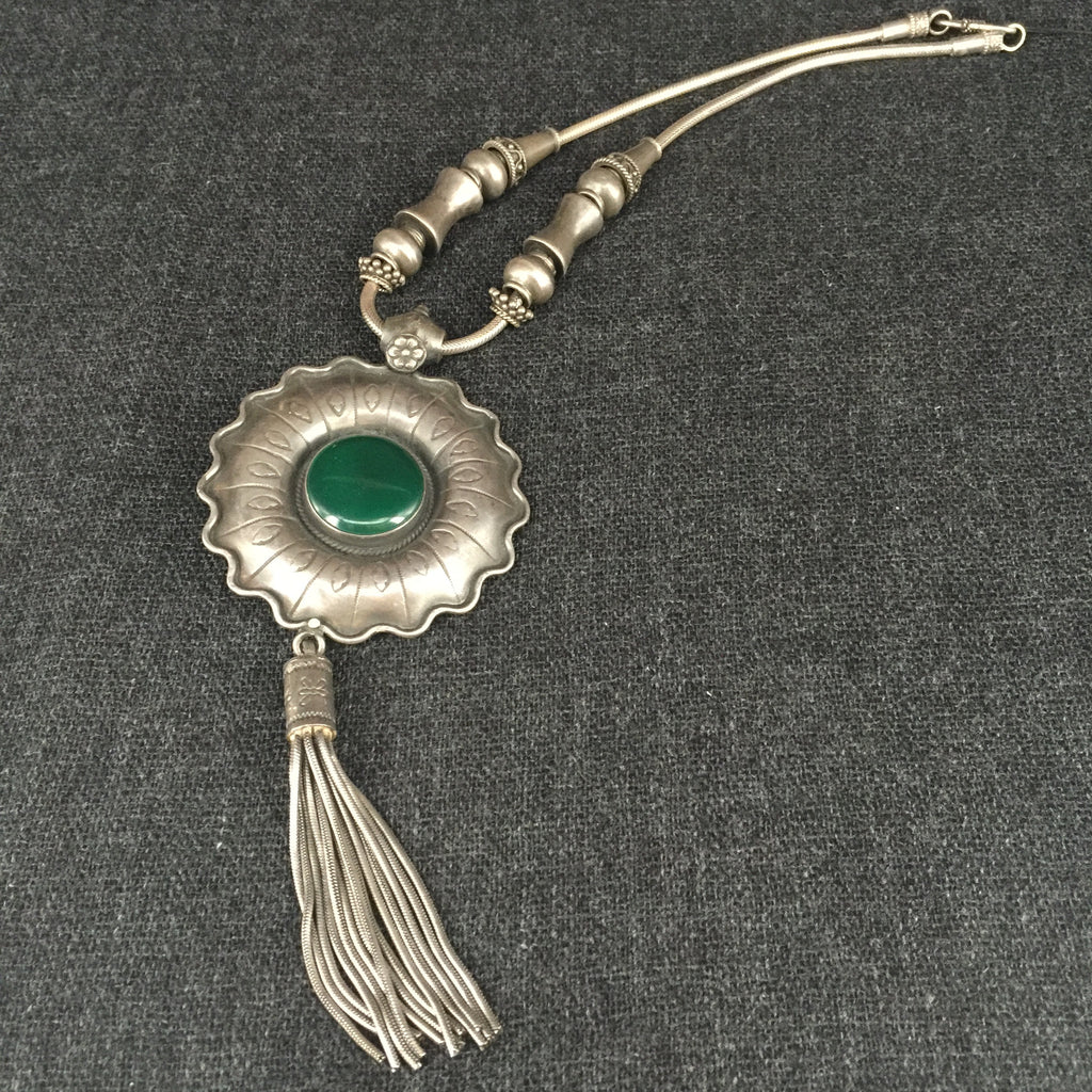 Handmade Rajasthani Silver & Green Agate Necklace Jewelry at Mahakala Fine Arts