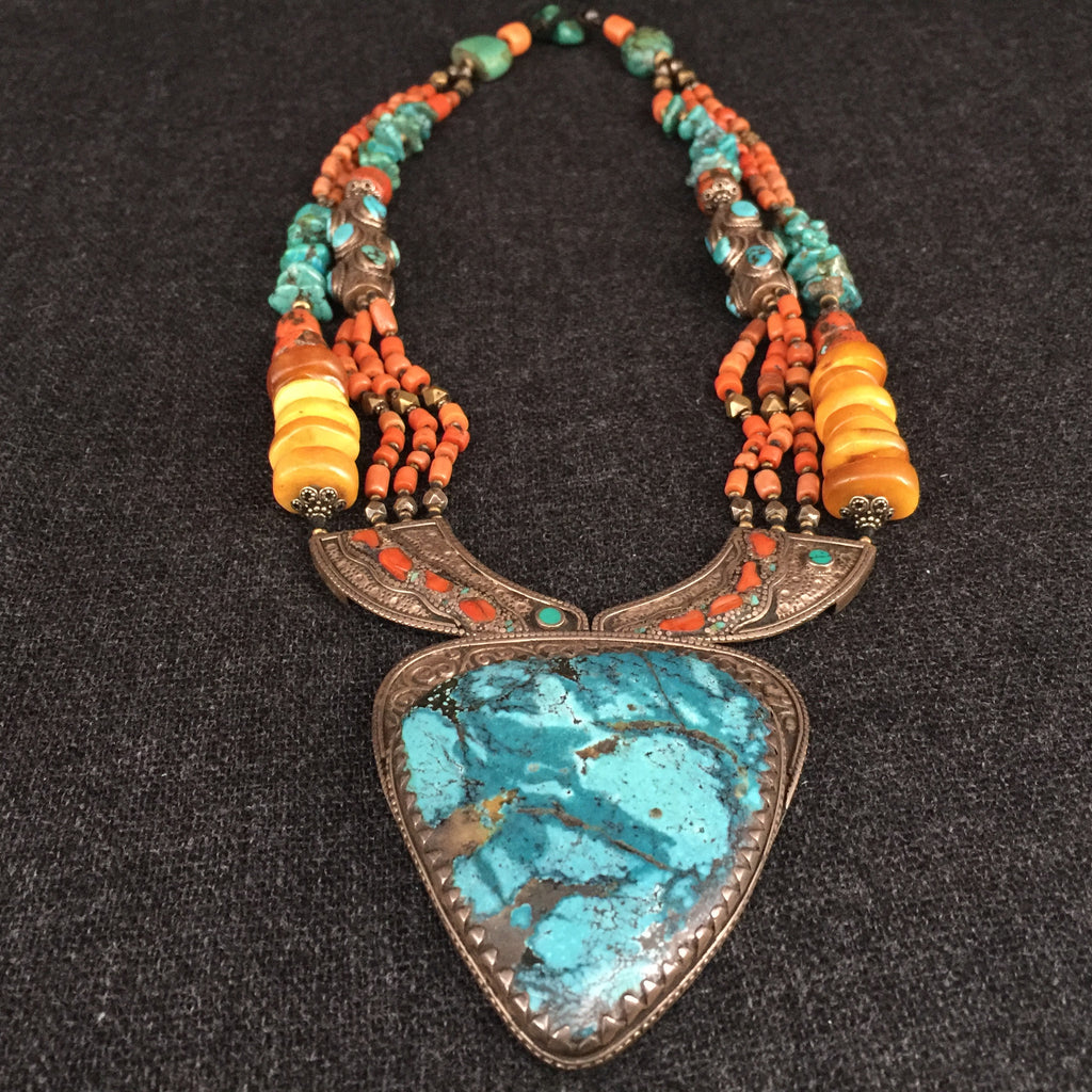 Antique Handmade Tibetan Necklace Jewelry at Mahakala Fine Arts