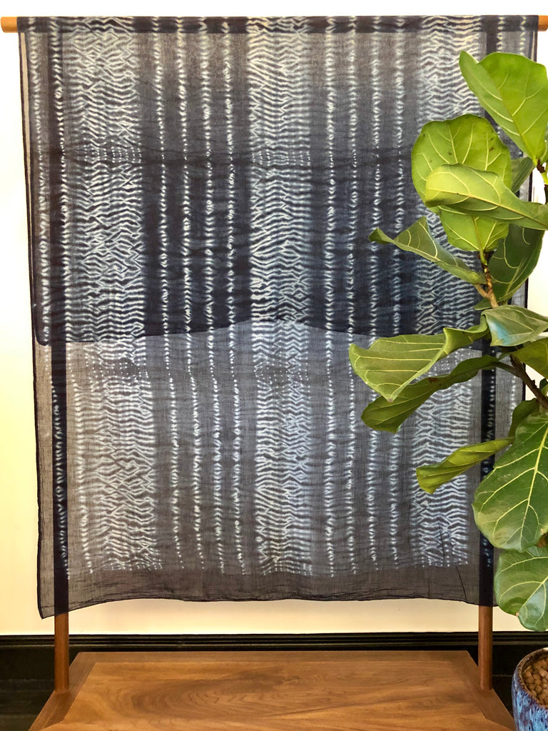 Handmade Organic Cotton Shibori Scarf Shawl from India and Mahakala Fine Arts