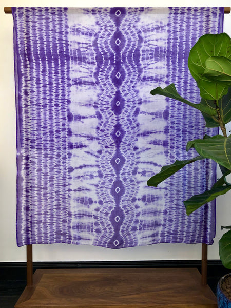 Handmade Shibori Scarf Shawl made with Organic cotton at Mahakala Fine Arts