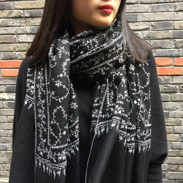 Handmade embroidered cashmere scarf from Kashmir India at Mahakala Fine Arts