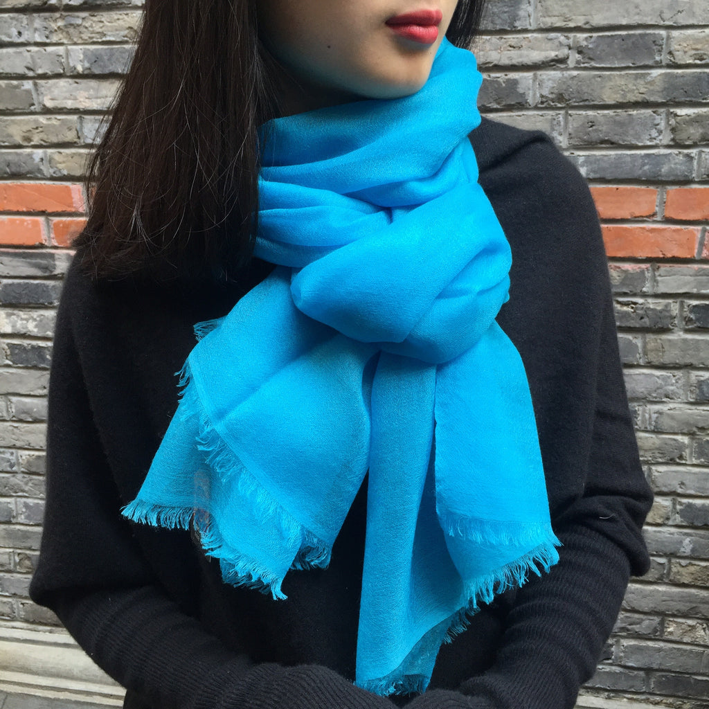 Handmade turquoise luxury cashmere scarf from Himalaya at Mahakala Fine Arts
