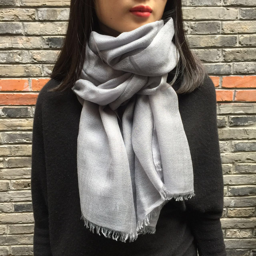 Handmade light grey luxury cashmere scarf from Himalaya at Mahakala Fine Arts