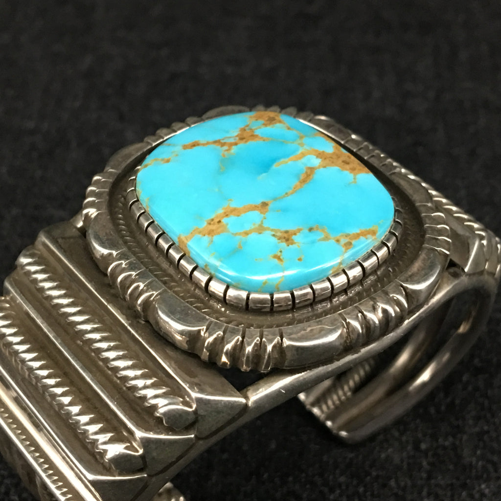 Native American Indian Navajo handmade sterling silver turquoise bracelet by Rick Martinez