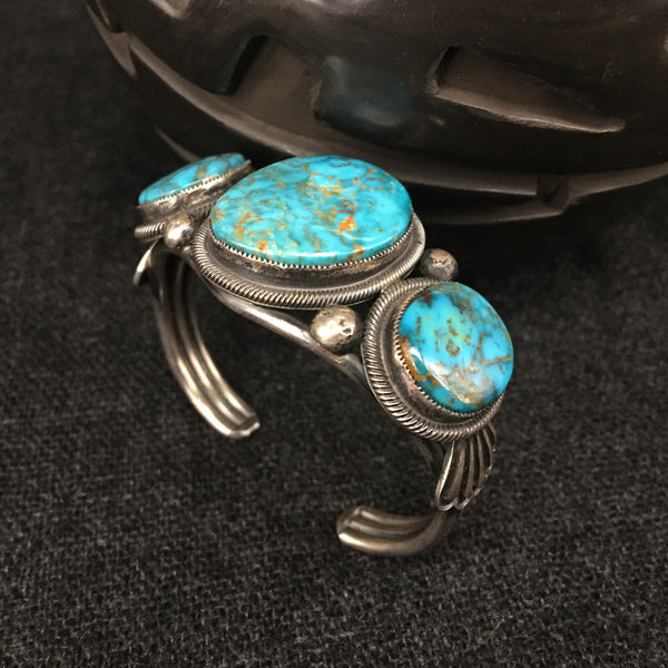 Native American Navajo Sterling Silver and Turquoise Bracelet by Leon Martinez at Mahakala Fine Arts