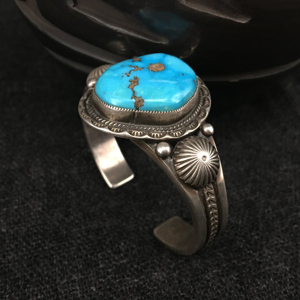 Native American Indian Navajo handmade sterling silver turquoise bracelet by Calvin Martinez