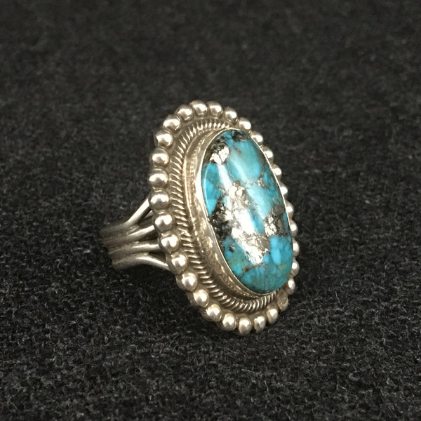 Native American Indian Navajo handmade sterling silver turquoise ring by Rick Martinez