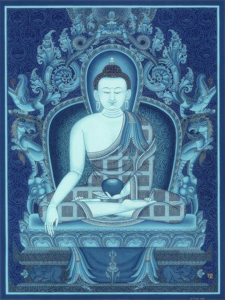 Akshobhaya Buddha of Five Dhyani Buddhas Thangka by Lok Chitrakar at Mahakala Fine Arts