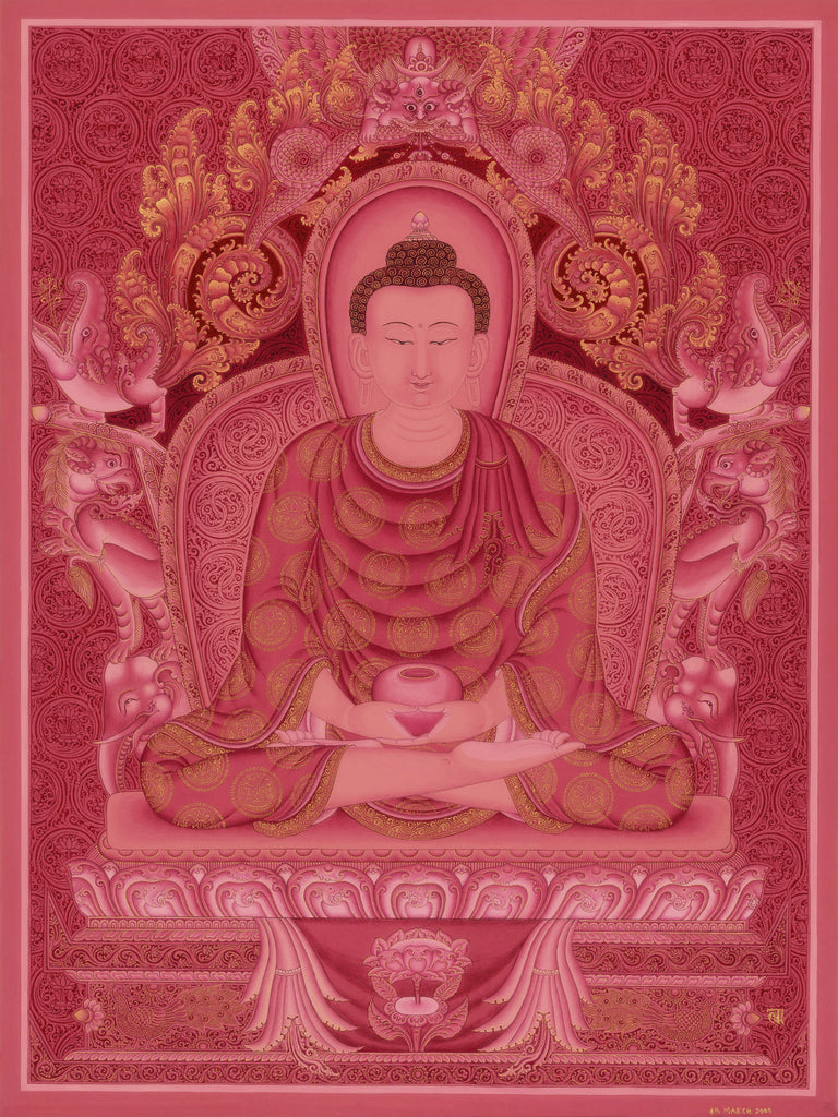 Amitabha Buddha of Five Dhyani Buddhas Thangka Paubha by Lok Chitrakar at Mahakala Fine Arts