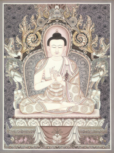 Vairocana Buddha of Five Dhyani Buddhas Thangka Paubha by Lok Chitrakar at Mahakala Fine Arts