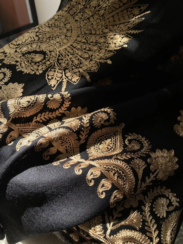 Black Wool Gold Embroidered Women's Scarf
