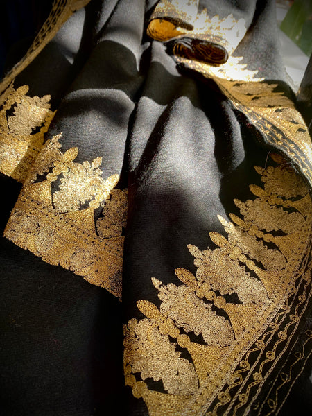 Elegant Black Wool with Gold Embroidery Scarf - Gold Border