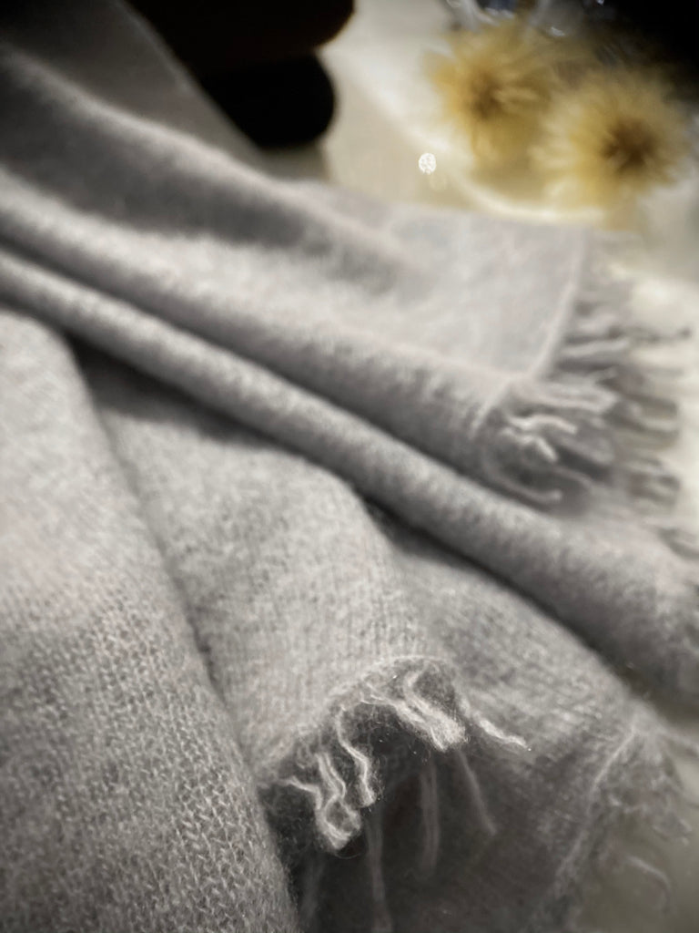 Cozy Pashmina Knit Scarf - Light Grey