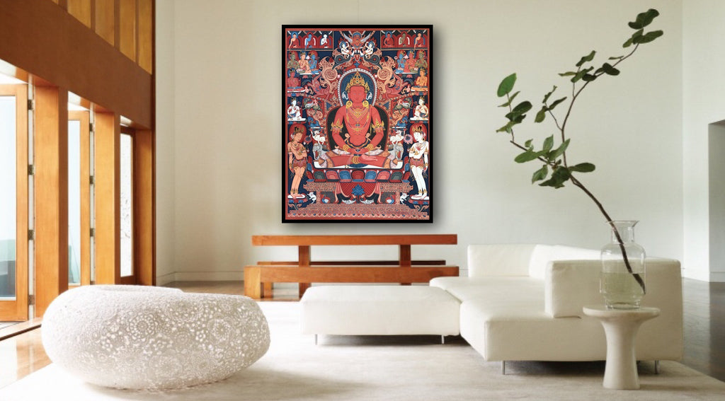 Newari Amitabha Thangka Paubha painting by Mukti Singh Thapa at Mahakala Fine Arts