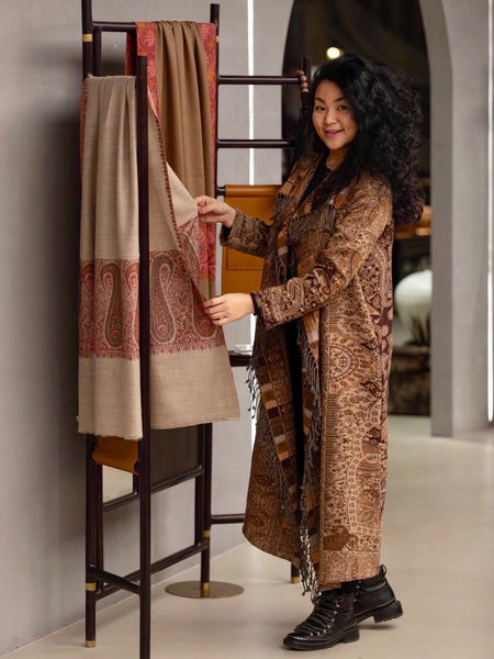 Designer Long Kashmiri Wool Coat - Caramel