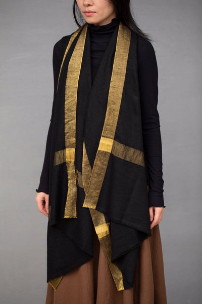 Natural Pashmina Black with Gold Shawl Scarf