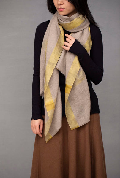 Moonlight Natural Pashmina and Gold Shawl Scarf