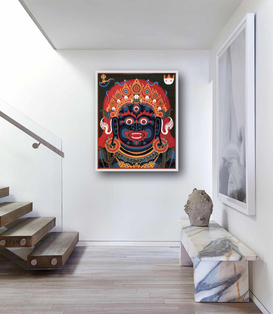 Banepa Nepal Chandeshwori Temple Mahakala Head thangka paubha painting by Mukti Singh Thapa at Mahakala Fine Arts