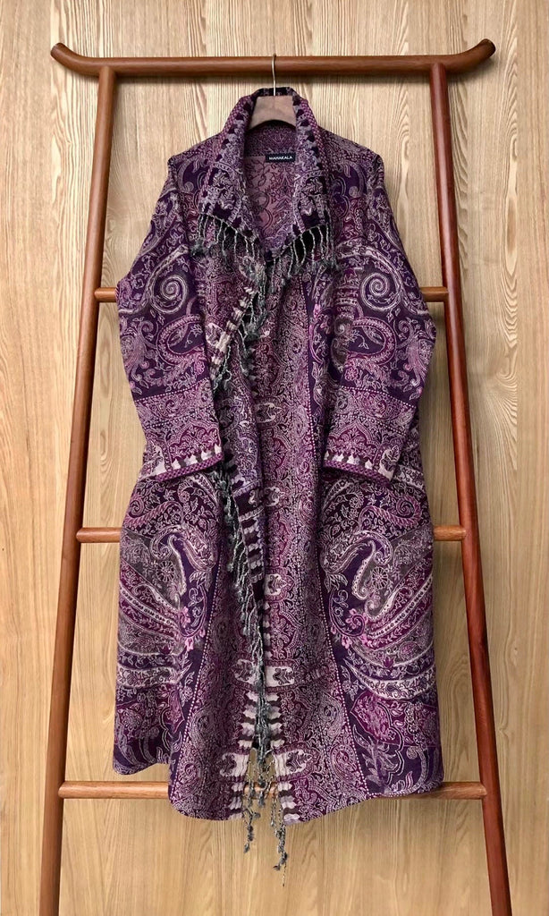 Designer Long Kashmiri Wool Coat - Purple
