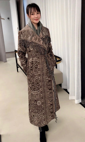 Designer Long Kashmiri Wool Coat - Chestnut