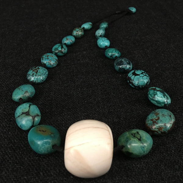 Stunning Tibetan Turquoise and Conch Necklace