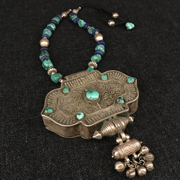 Antique Silver and Turquoise Tibetan Gau Box Necklace Jewelry at Mahakala Fine Arts