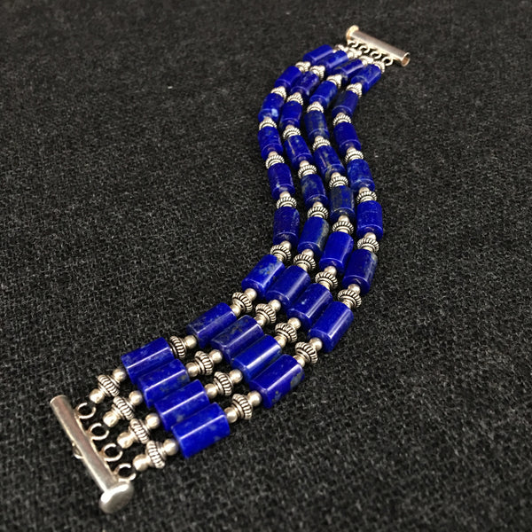 Handmade Lapis and Silver Bracelet Jewelry at Mahakala Fine Arts