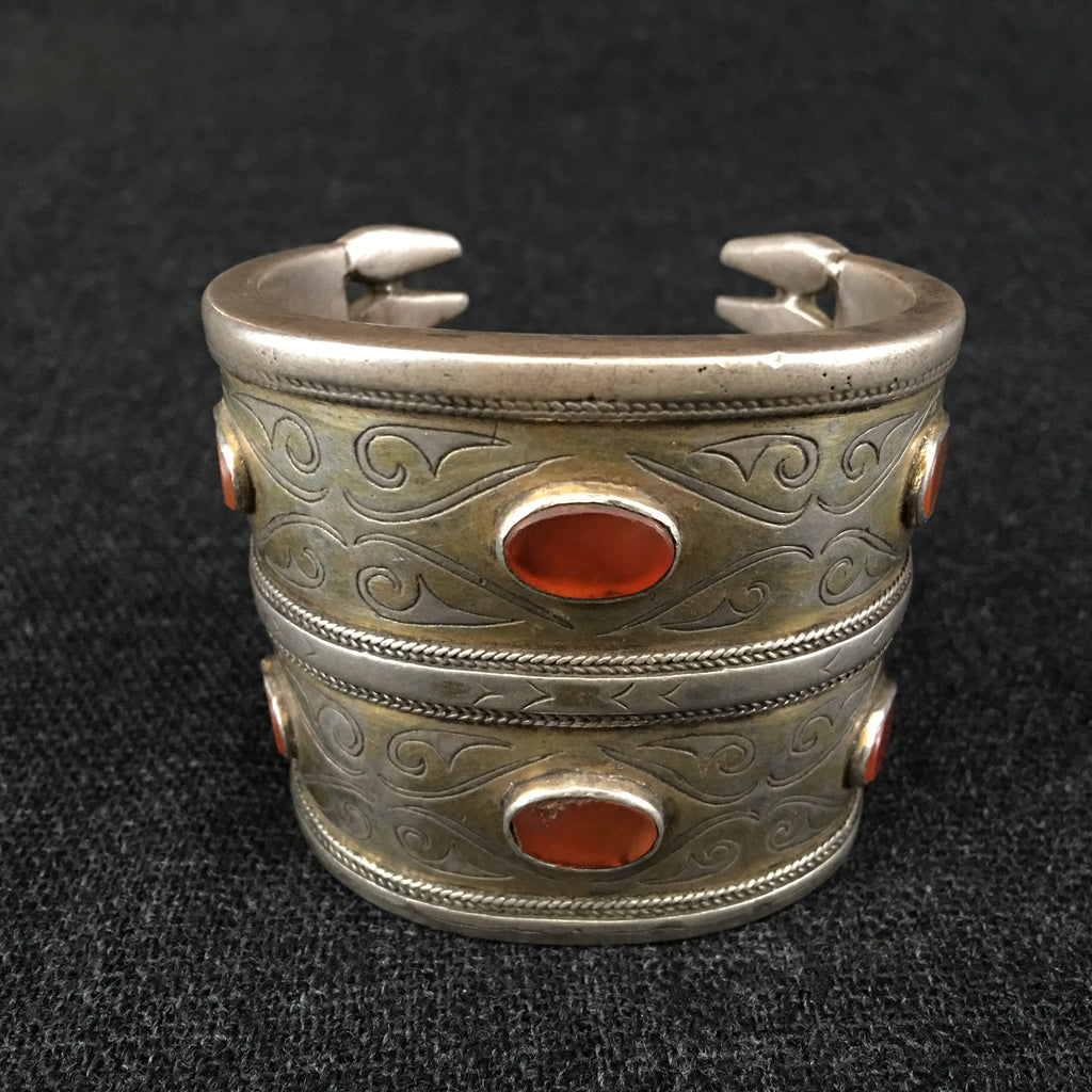 Antique Handmade Turkoman Silver Bracelet at Mahakala Fine Arts
