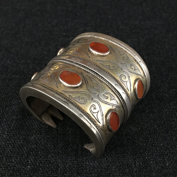 Antique Handmade Turkoman Carnelian and Silver Bracelet at Mahakala Fine Arts