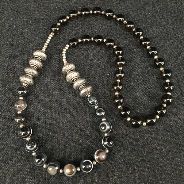 Agate, Crystal and Silver Necklace Jewelry at Mahakala Fine Arts