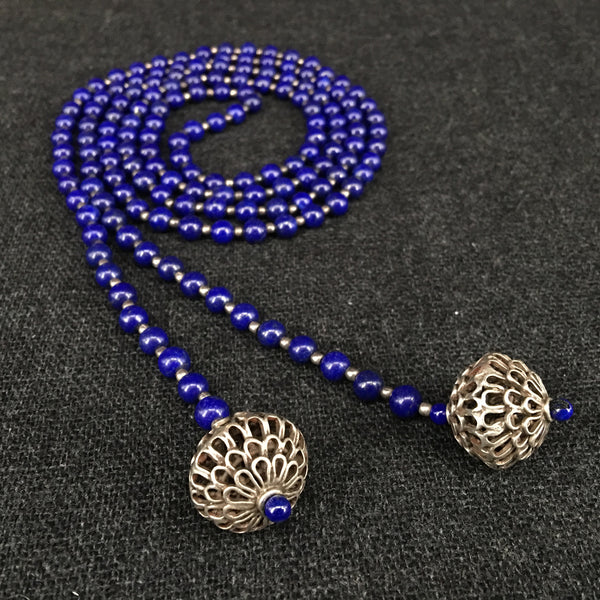 Handmade Afghani Lapis Necklace with Antique Tibetan Silver Beads Jewelry at Mahakala Fine Arts