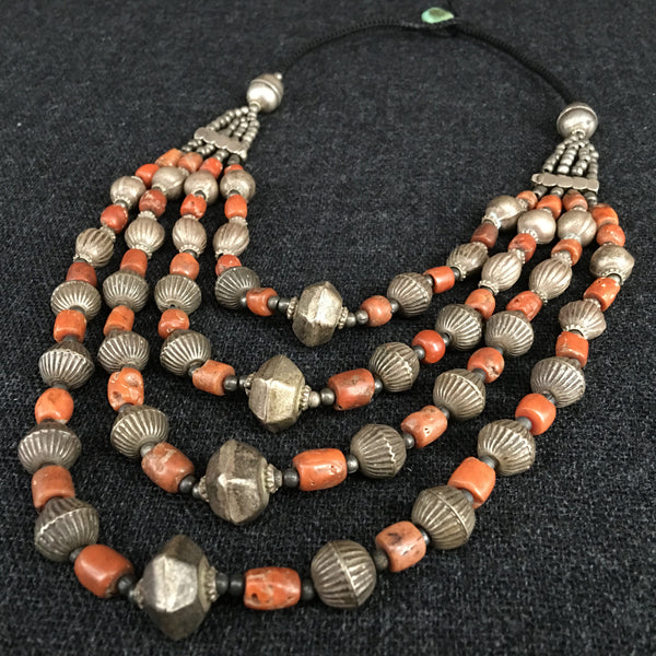 Antique Handmade Himalayan Coral and Silver Necklace Jewelry at Mahakala Fine Arts
