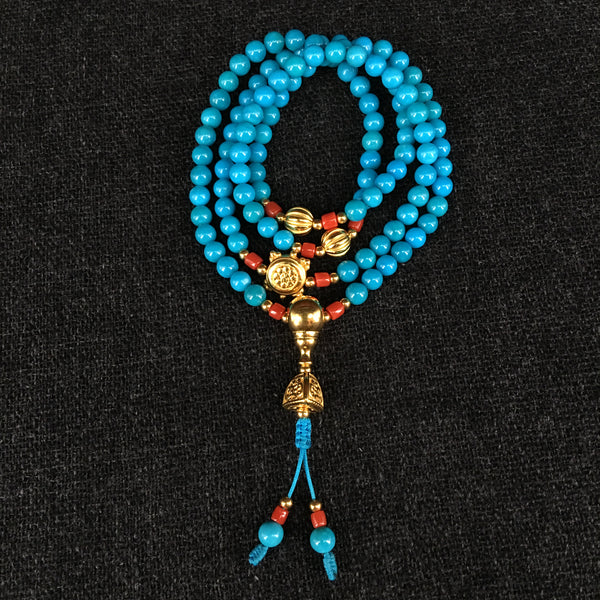 Handmade American Indian Sleeping Beauty Turquoise and Gold Prayer Bead Mala at Mahakala Fine Arts