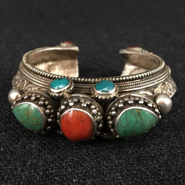 Antique Turquoise, Coral and Silver Tibetan Bracelet at Mahakala Fine Arts