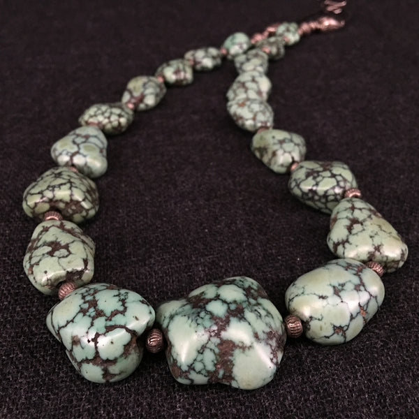 Long Antique Tibetan Turquoise Necklace Jewelry at Mahakala Fine Arts