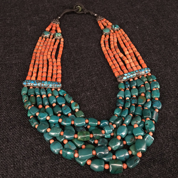 Antique Tibetan Turquoise and Coral Necklace Jewelry at Mahakala Fine Arts