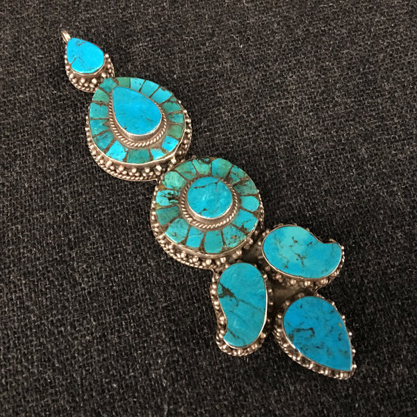 Antique Handmade Tibetan Turquoise Earring Pendant Jewelry at Mahakala Fine Arts
