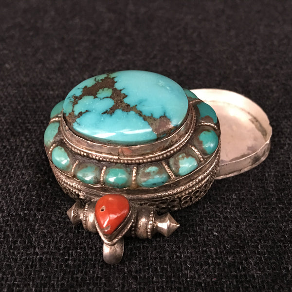 Antique Tibetan Turquoise and Silver Gau Pendant Jewelry at Mahakala Fine Arts