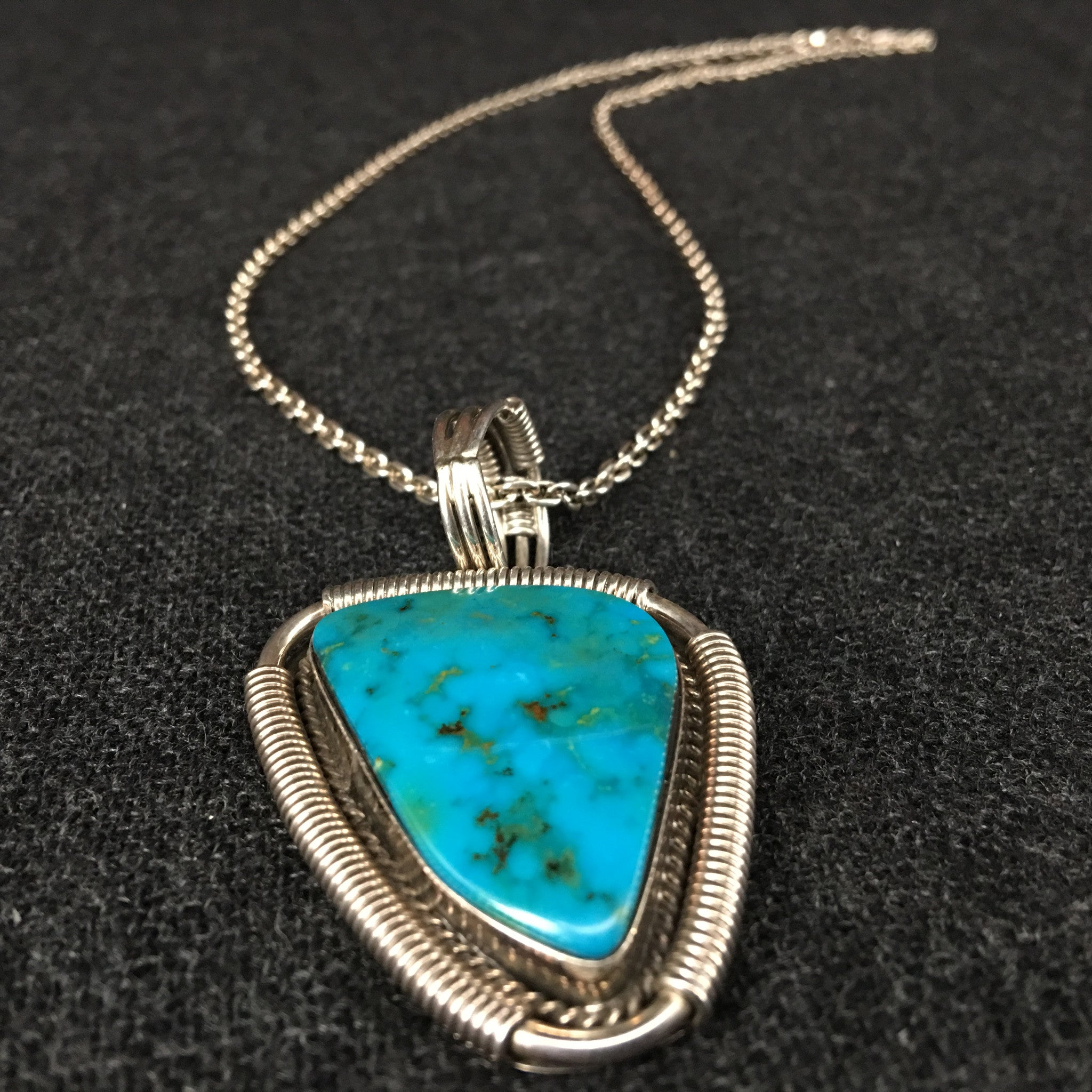 Handmade /& Silver Turquoise Pendant Turquoise Necklace