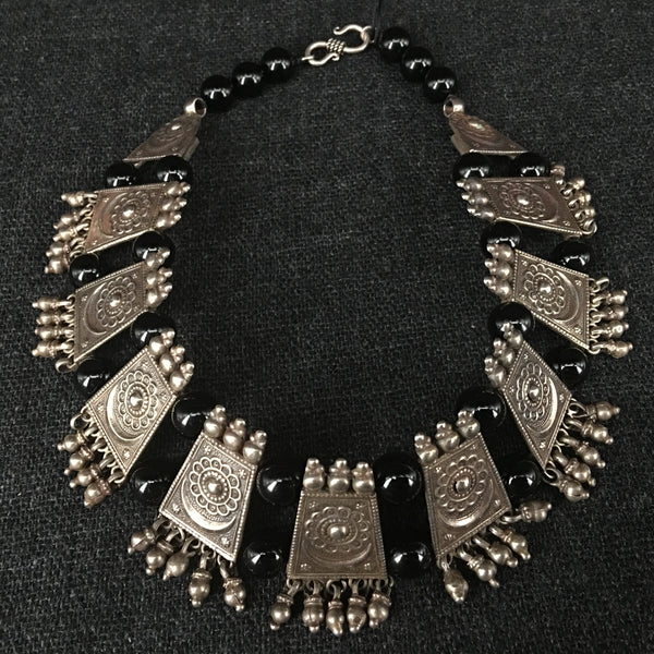 Handmade Rajasthani Silver and Onyx Choker Necklace Jewelry at Mahakala Fine Arts