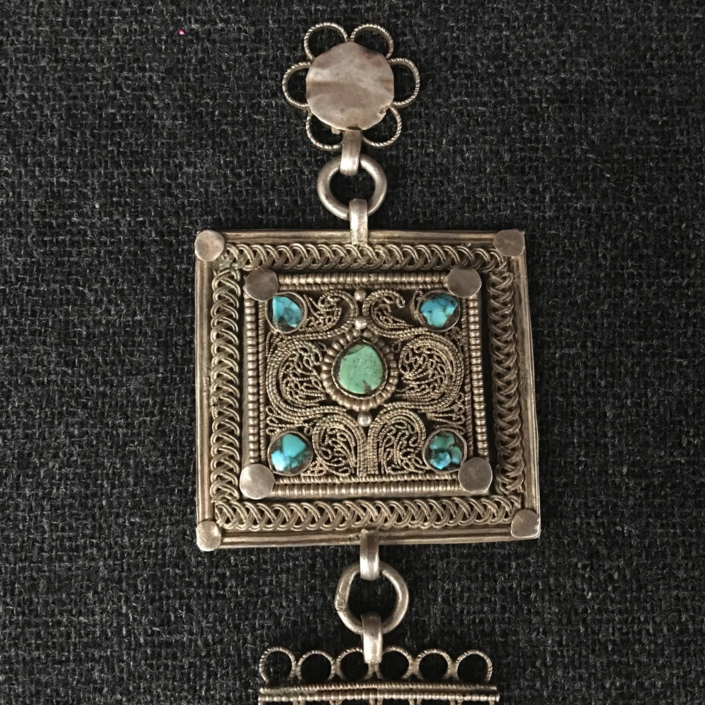 Antique Tibetan Handmade Silver and Turquoise Pendant Jewelry at Mahakala Fine Arts