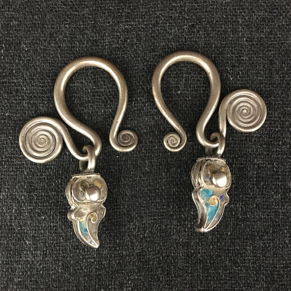 Antique Himalayan Tibetan Silver Earrings at Mahakala Fine Arts
