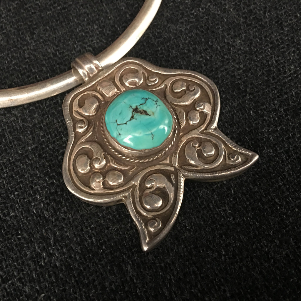 Antique Handmade Tibetan Turquoise and Silver Pendant Jewelry at Mahakala Fine Arts
