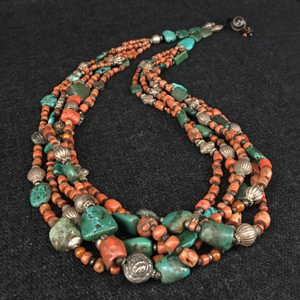 Antique Handmade Tibetan Himalayan Coral and Turquoise Necklace Jewelry at Mahakala Fine Arts