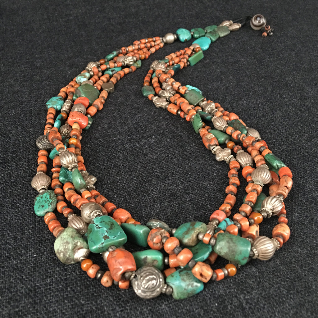 Handmade Tibetan Himalayan Coral and Turquoise Necklace Jewelry at Mahakala Fine Arts