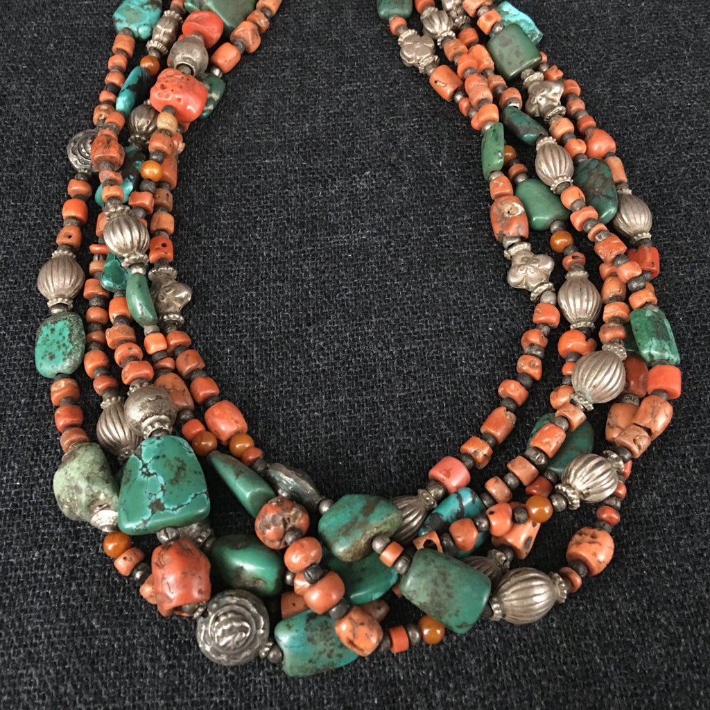 Handmade Tibetan Himalayan Coral and Turquoise Necklace Jewellery at Mahakala Fine Arts