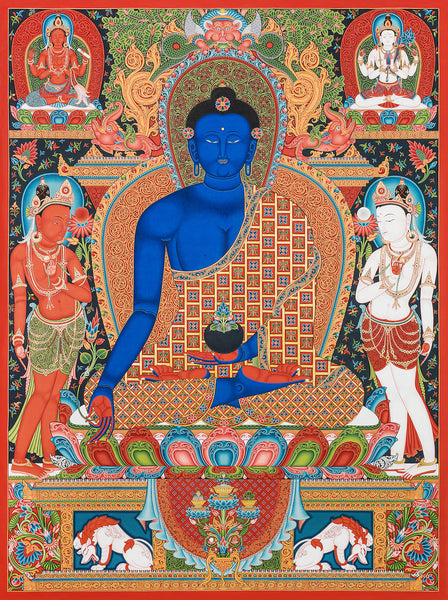 Medicine Buddha Buddhist thangka painting by Mukti Singh Thapa at Mahakala Fine Arts